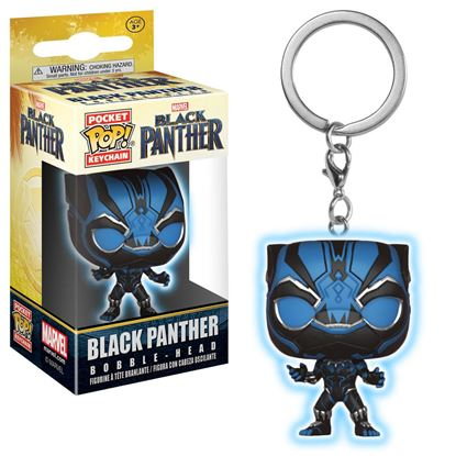 Imagen de Black Panther Movie Llavero Pocket POP! Vinyl Black Panther (Glow) 4 cm